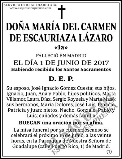 María del Carmen de Escauriaza Lázaro
